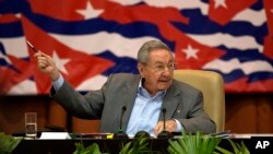 Le président cubain Raul Castro à une session du 7e Congrès du Parti communiste cubain à La Havane, Cuba, le lundi 18 Avril 2016. (Ismael Francisco / Cubadebate via AP)