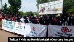 Plus d'un millier de manifestants ont dénoncé l'introduction des OGM à Ouagadougou, Burkina Faso, 2 juin 2018. (Twitter/ Nitiema Hamidoukzjzk)