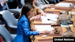 Nikki Haley, Duta Besar Amerika di PBB dan Presiden DK PBB (foto: dok).