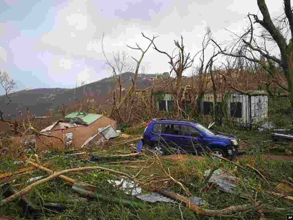 خرابی های به جامانده از توفان دریايی ایرما در منطقه تورتولا در جزایر ویرجین دریای کارائیب