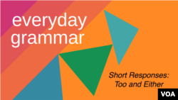 Everyday Grammar: Too and Either: Short Responses of Agreement