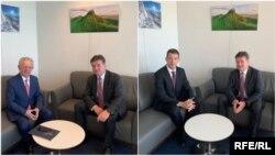 Predstavnik EU za dijalog Miroslav Lajčak u odvojenim susretima, sa predstavnikom Kosova Skenderom Hisenijem (levo) i predstavnikom Srbije Markom Đurićem (desno), Brisel (Foto: RFE)