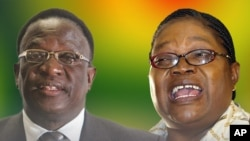 Protagonists in the escalating Zanu PF power struggles, Justice Minister Emmerson Mnangagwa and Vice President Joyce Mujuru. (Collage by VOA's Ntungamili Nkomo)