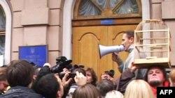 Учасники демонстрації протесту вимагають не приймати закон «Про мови»