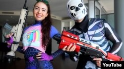 """""""Fortnite"""" characters Brite Bomber and Skull Trooper are popular Halloween costumes this year."""