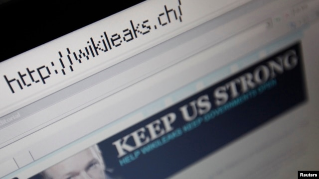A screen shot of a web browser displaying the WikiLeaks website with a picture of its founder Julian Assange in Bern on December 4, 2010.