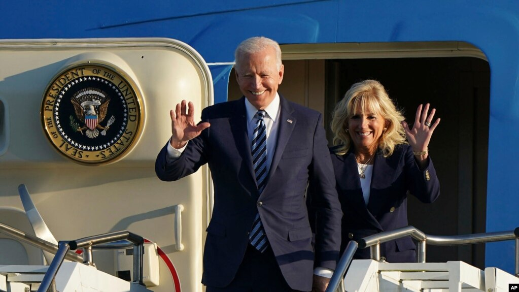 U.S. President Joe Biden and First Lady Jill Biden arrive at RAF Mildenhall, England, ahead of the G7 summit in Cornwall, June 9, 2021.