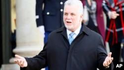 FILE - Quebec Premier Philippe Couillard.
