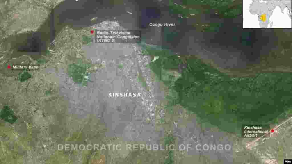 محل حملات روز دوشنبه ۳۰ دسامبر ۲۰۱۳ در پایتخت کنگو روی نقشه مشخص شده است.