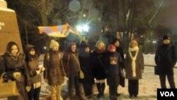 莫斯科甘地廣場上的支持藏人的活動。(美國之音白樺拍攝)