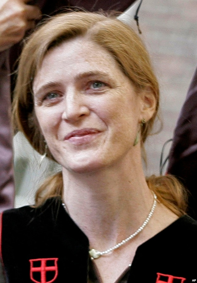 Samantha Power receives an honorary Doctor of Humane Letters degree during Brown University's 239th Commencement in Providence, R.I., May 27, 2007
