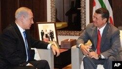 اسرائیلی وزیر اعظم بن یامن نتن یاہو، اردن کے شاہ عبداللہ سے ملاقات کررہے ہیں
