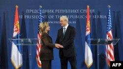 Američka državna sekretarka Hilari Klinton i predsednik Srbije, Boris Tadić, uoči zajedničke konferencije za medije, u Beogradu