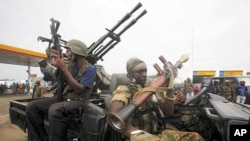 忠於科特迪瓦的總統大選獲勝者瓦塔拉的士兵星期天在阿比讓