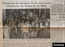 Tin trên báo La Nouvelle Marche ngày 16/9/1983 về lễ tuyên thệ của các tình nguyện viên Peace Corps (Ảnh: Bùi Văn Phú)