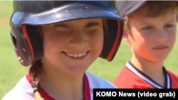 A member of the Rockford Peaches all-girls Little League team.