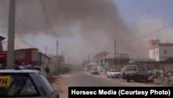 Vue sur la ville de Galkayo, juste après l'attentat-suicide Somalie, le 21 août 2016. (Horseec Media)