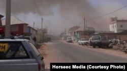 Vue sur la ville de Galkayo, juste après l'attentat-suicide, en Somalie, le 21 août 2016. (Horseec Media)