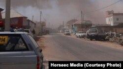 Dua ledakan menarget gedung pemerintahan di Galkayothat, Somalia tengah, 21 Agustus 2016. (Horseec Media)