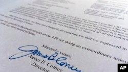Wasikar da shugaban FBI James Comey ya rubutawa Majalisar Wakilan Amurka