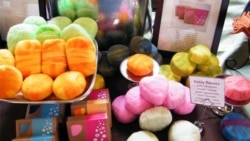 Herban Lifestyle products include colorful fuzzy soaps, which are wrapped in wool