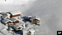 An aerial view of the Langtauferer hotel in the Venosta valley, northern Italy, Jan. 23, 2018.