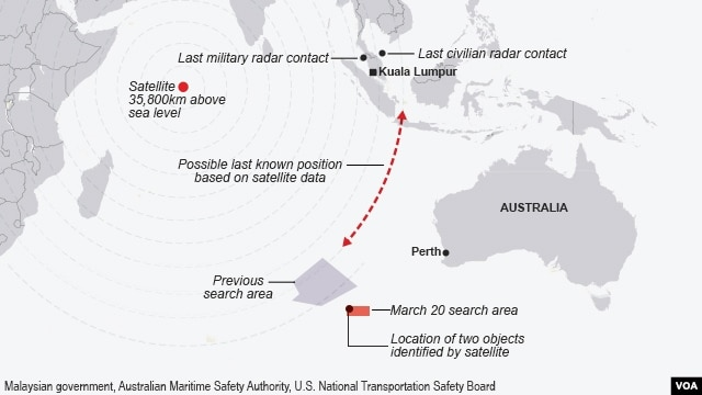 Malaysia Airlines, search area as of March 20, 2014