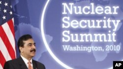 Pakistan's Prime Minister Yusuf Raza Gilani speaks while in Washington for the 2010 nuclear security summit (FILE).