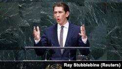 سباستین کورتس، وزیر خارجه اتریش و جوانترین وزیر خارجه دنیا روز شنبه در سازمان ملل سخنرانی کرد - مقر سازمان ملل، نیویورک، ۵ مهر
