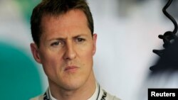 FILE - Mercedes Formula One driver Michael Schumacher is seen during the first practice session of the Australian F1 Grand Prix at the Albert Park circuit in Melbourne, Australia, March 25, 2011.