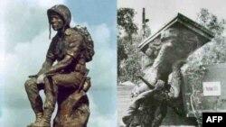 """Tượng """"Thương Tiếc"""" trước cổng Nghĩa Trang Quân Đội Biên Hòa bị giật sập sau 1975"""