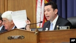 FILE - Republican Congressman Jason Chaffetz speaks during a hearing of the House Oversight and Government Reform Committee, which he chairs, on Capitol Hill in Washington, D.C., Sept. 17, 2015.