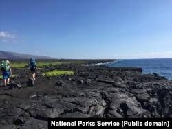 Hikers walking along lava on the Puna Coast Trail