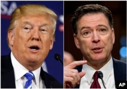 FILE - This combination photo shows President Donald Trump speaking during a roundtable discussion in White Sulphur Springs, W.Va., April 5, 2018, left, and former FBI director James Comey speaking during a Senate Intelligence Committee hearing on Capitol Hill i