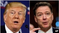 This combination photo shows President Donald Trump speaking during a roundtable discussion in White Sulphur Springs, W.Va., April 5, 2018, left, and former FBI director James Comey speaking during a Senate Intelligence Committee hearing on Capitol Hill i