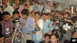 Cambodian journalists gathered at a media conference in Cambodia, file photo.