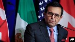 Le ministre mexicain de l'économie Ildefonso Guajardo lors d'une conférence à Washington, le 17 octobre 2017
