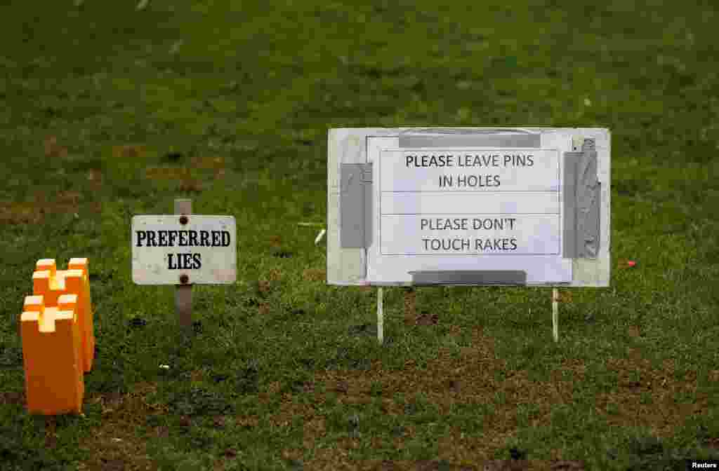 General view of a sign at Chester-le-Street Golf Club is seen as the spread of the coronavirus disease (COVID-19) continues, in Chester-le-Street, Britain.