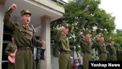 25일 북한 반미 교양시설인 황해남도 신천박물관에서 '복수결의모임' 행사가 진행되고 있다. (자료사진)