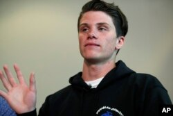 Brendan Bialy speaks about his part in stopping the attack at the STEM School Highlands Ranch during a news conference, May 8, 2019, in Englewood, Colo.