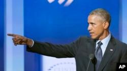 Prezident Barak Obama Klinton Qlobal Təşəbbüsünün yığıncağında çıxış edir. 23 sentyabr, 2014.