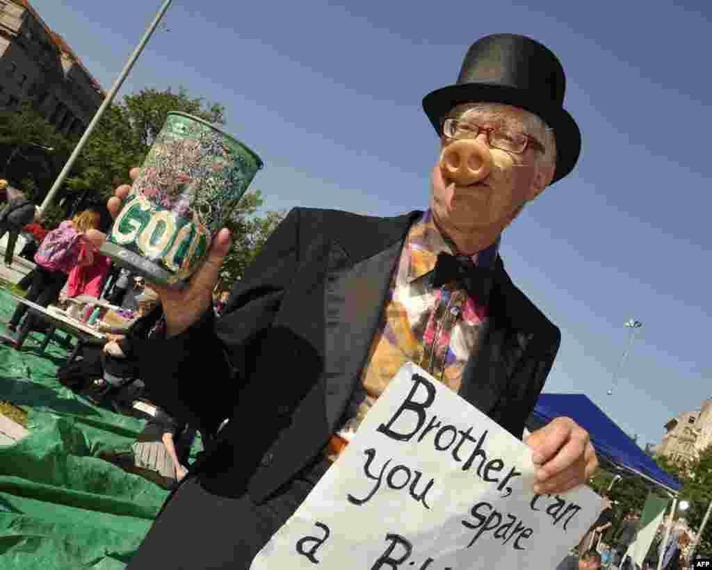 Участник «Хряк с Уолл-стрит». Надпись на плакате: «Браток, подашь миллиардик?»