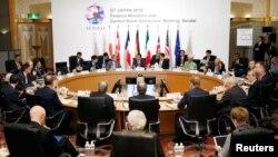 Para pemimpin keuangan G-7bertemu di Sendai, Miyagi, Jepang, Jumat (20/5).