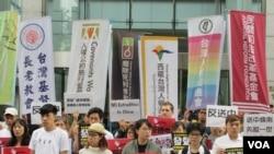 台湾公民及人权团体2019年6月12号举行记者会声援香港民众反对逃犯条例。 (美国之音张永泰拍摄)