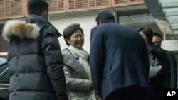 Trưởng quan Hành chính Hong Kong Carrie Lam đượrc tiếp đón khi bà tới một khách sạn ở Bắc Kinh vào ngày 14 tháng 12, 2019.