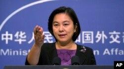 Bà Hoa Xuân Oánh, phát ngôn viên BNG TQ, tại một họp báo năm 2017
