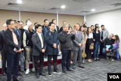 香港版權大聯盟原定舉行記者會支持《2014年版權(修訂)條例草案》。(美國之音湯惠芸)