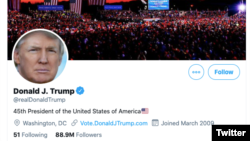 Conta pessoas do Presidente Donald Trump no Twitter