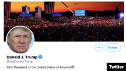 Personal account of Donald Trump in Twitter