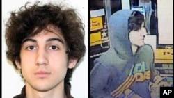 2013年4月19日美國聯邦調查局公佈波士頓馬拉松爆炸事件嫌疑人焦哈爾‧薩納耶夫的照片(左),以及波士頓情報中心發佈捉拿嫌疑人焦哈爾的錄像圖片(右)。